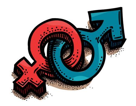 男性、女性のセックス シンボルの漫画のイメージ。性別