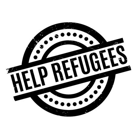 Help Refugees rubber stamp Illustration