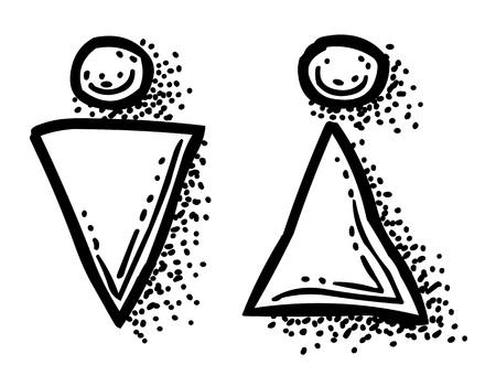 Karikaturbild des Mannes, Frauen-Ikone. Toilettensymbol