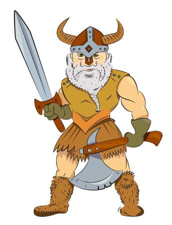 Cartoon image of viking warrior Illustration