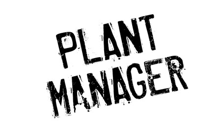 Plant Manager rubber stamp. Grunge design with dust scratches. Effects can be easily removed for a clean, crisp look. Color is easily changed.
