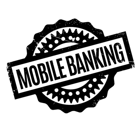 e commerce icon: Mobile Banking rubber stamp. Grunge design with dust scratches. Effects can be easily removed for a clean, crisp look. Color is easily changed.