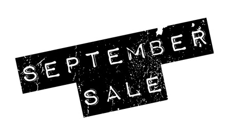 September Sale rubber stamp. Grunge design with dust scratches. Effects can be easily removed for a clean, crisp look. Color is easily changed. Illustration