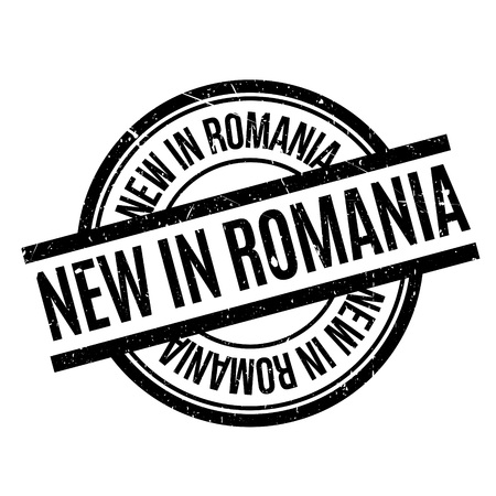 tributary: New In Romania rubber stamp. Grunge design with dust scratches. Effects can be easily removed for a clean, crisp look. Color is easily changed.