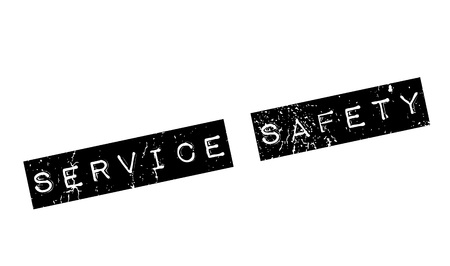 Service Safety rubber stamp. Grunge design with dust scratches. Effects can be easily removed for a clean, crisp look. Color is easily changed.