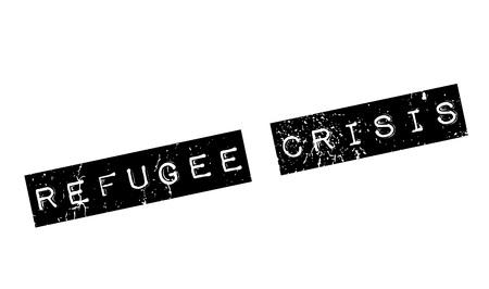 migrating: Refugee Crisis rubber stamp