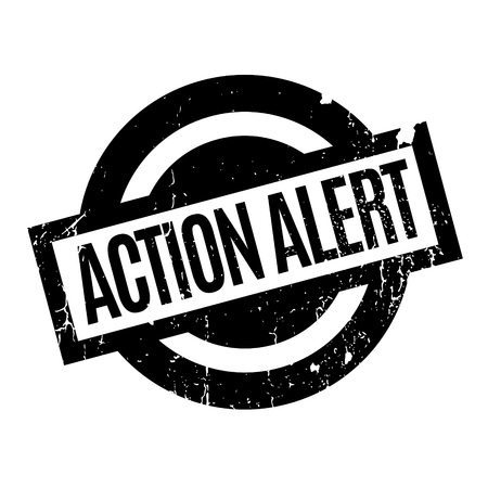 commotion: Action Alert rubber stamp. Grunge design with dust scratches. Effects can be easily removed for a clean, crisp look. Color is easily changed. Illustration