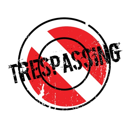 Trespassing rubber stamp. Grunge design with dust scratches. Effects can be easily removed for a clean, crisp look. Color is easily changed.