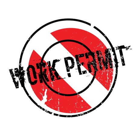 Work Permit rubber stamp