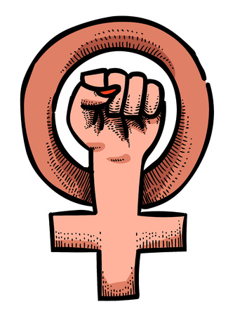 Kreskówka obraz symbolu feminizmu
