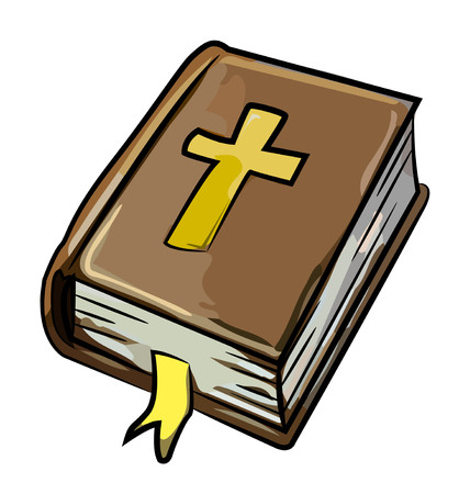 Cartoon image of Bible Icon. Religion symbol