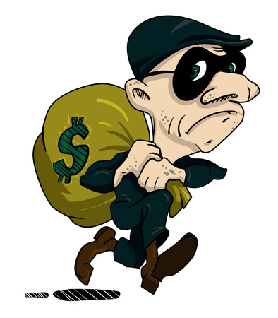 Cartoon image of burglar with loot bag