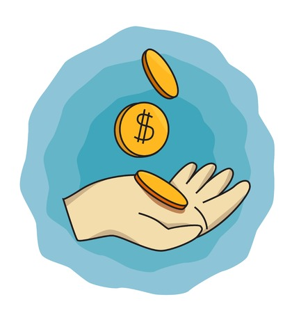 cent: Cartoon image of Save your money, flat vector illustration