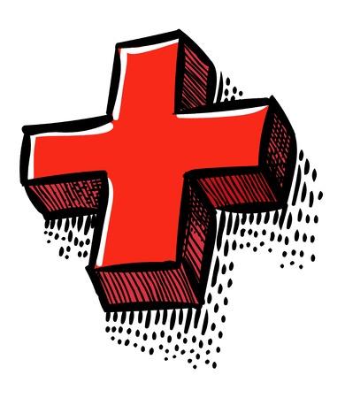 플러스 아이콘의 만화 이미지입니다. 십자 기호