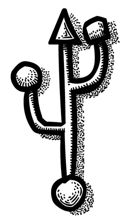 storage compartment: Cartoon image of Usb Icon