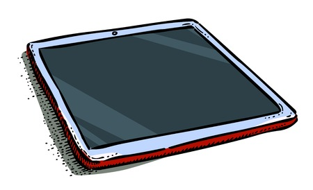 Cartoon image of Tablet computer with blank screen in ipad style Stock Photo