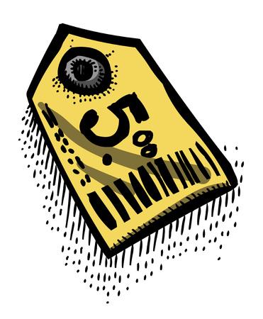 Cartoon image of Tag Icon. Price symbol Illustration