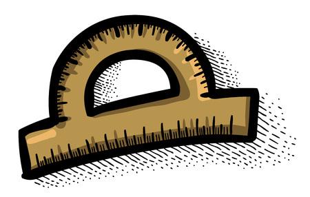 semicircle: Cartoon image of Protractor