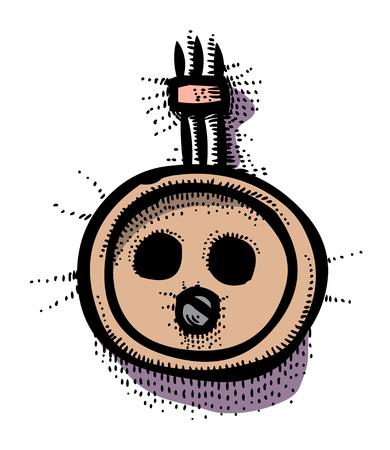 Cartoon image of Socket Icon. Rosette symbol
