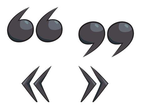 Cartoon image of Quote mark Icon. Quote symbol