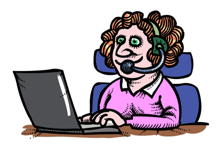 ic: Cartoon image of Technical support woman operator flat vector ic