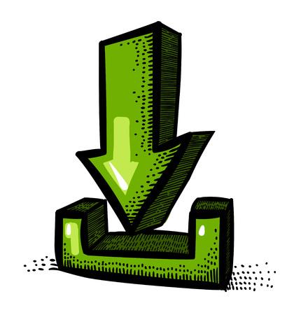 Cartoon image of Torrent Icon. Arrow symbol Illustration