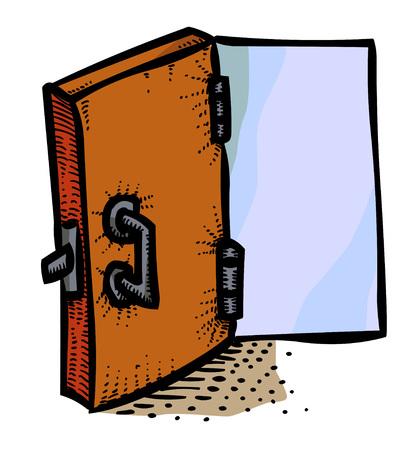 doorknob: Cartoon image of Door Icon. Open door symbol