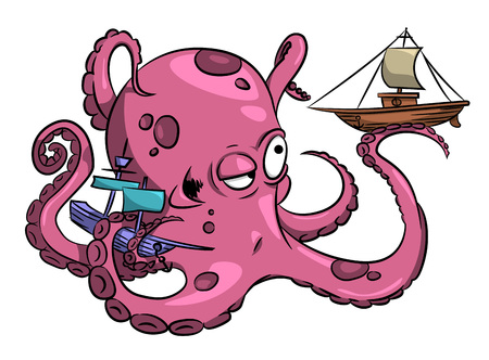quirky: Cartoon image of octopus