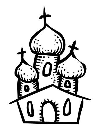 Cartoon image of Church Icon. Religion symbol