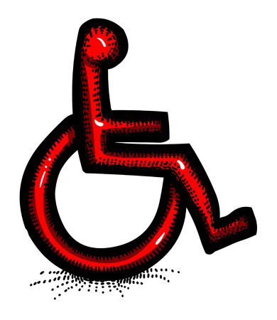 medical drawing: Cartoon image of Handicap Icon. Accessibility symbol