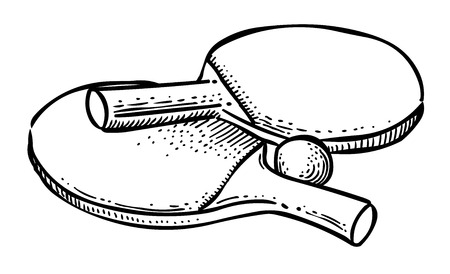 Immagine del fumetto dell'icona di ping pong. Simbolo sportivo Archivio Fotografico - 81521306
