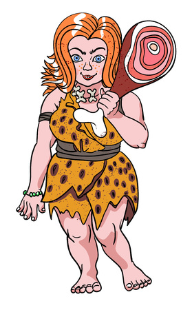 quirky: Cartoon image of cave woman