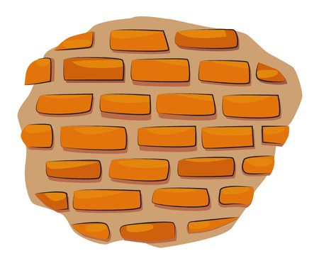 Cartoon image of Wall Icon. Wall brick symbol