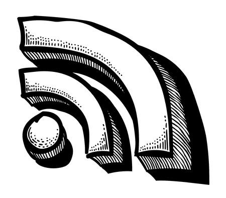 meta: Cartoon image of RSS Icon for your web design, app, UI Illustration