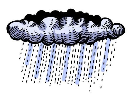 Cartoon image of Rain Icon. Cloud rain symbol. Modern forecast s