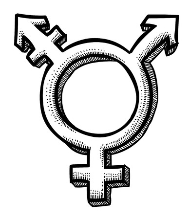 Cartoon afbeelding van transgender pictogram. Geslacht symbool