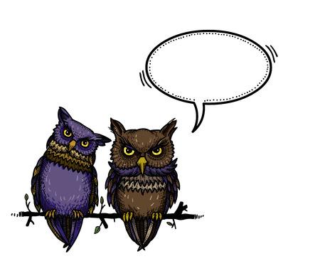 schattige uilen-100 Vector Illustratie