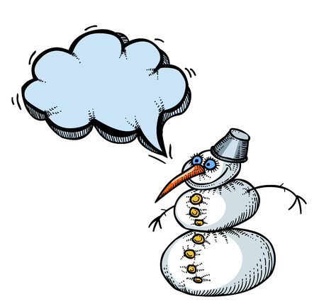 Cartoon image of snowman. An artistic freehand picture. Illustration