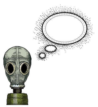 guise: Cartoon image of gas mask. An artistic freehand picture.