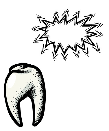 mouth screen: Cartoon image of Tooth Icon. Dentistry symbol. An artistic freehand picture.