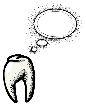 Cartoon image of Tooth Icon. Dentistry symbol. An artistic freehand picture.