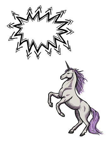 quirky: Cartoon image of unicorn. An artistic freehand picture.