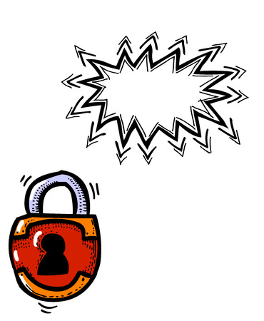 Cartoon image of Lock Icon. Lock symbol. An artistic freehand picture.