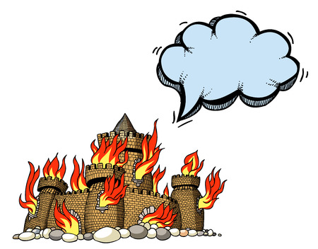 ignited: Cartoon image of burning castle. An artistic freehand picture. Illustration
