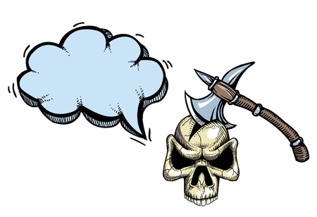 Cartoon image of axe in skull. An artistic freehand picture.