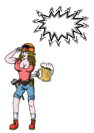 Cartoon image of hard working woman with beer. An artistic freehand picture. Illustration
