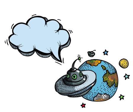 flying saucer: flying saucer and planet-100 Illustration