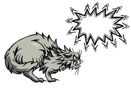 annoying: Cartoon image of angry cat Illustration