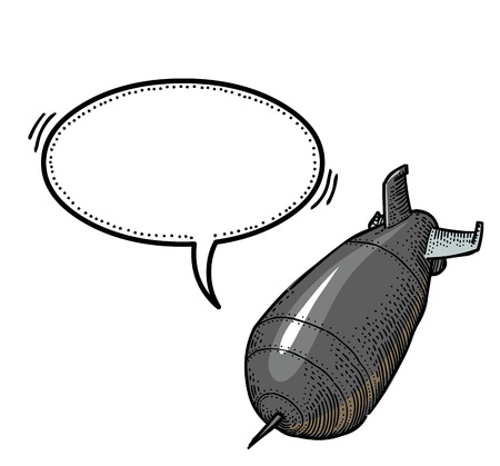 Cartoon image of falling bomb. An artistic freehand picture.