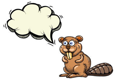 Cartoon image of beaver. An artistic freehand picture. Illustration